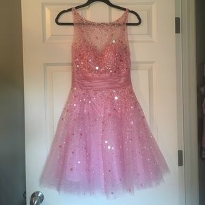 Jovani Homecoming/Prom Pink Tulle Sequined Dress